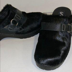 Sam Edelman Size 10 Black Leather Clogs Faux Fur